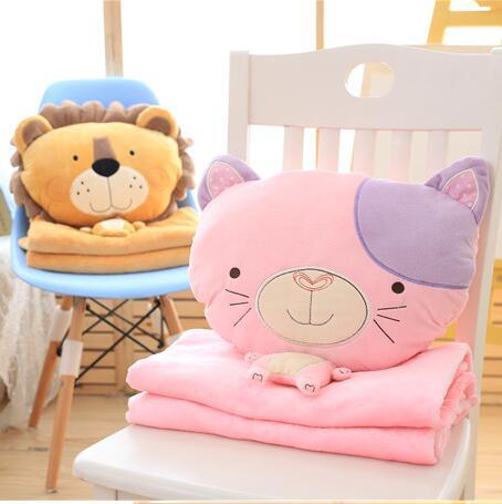 Dessin animé Animal en peluche oreiller lion singe chien chat jouets pour enfants cadeau contient en peluche flanelle couverture chambre coussin