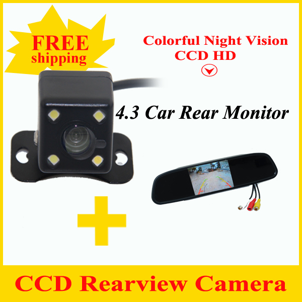 Free Shipping 4.3 inch car mirror car rear mirror and Car parking backup rear view camera  for All cars