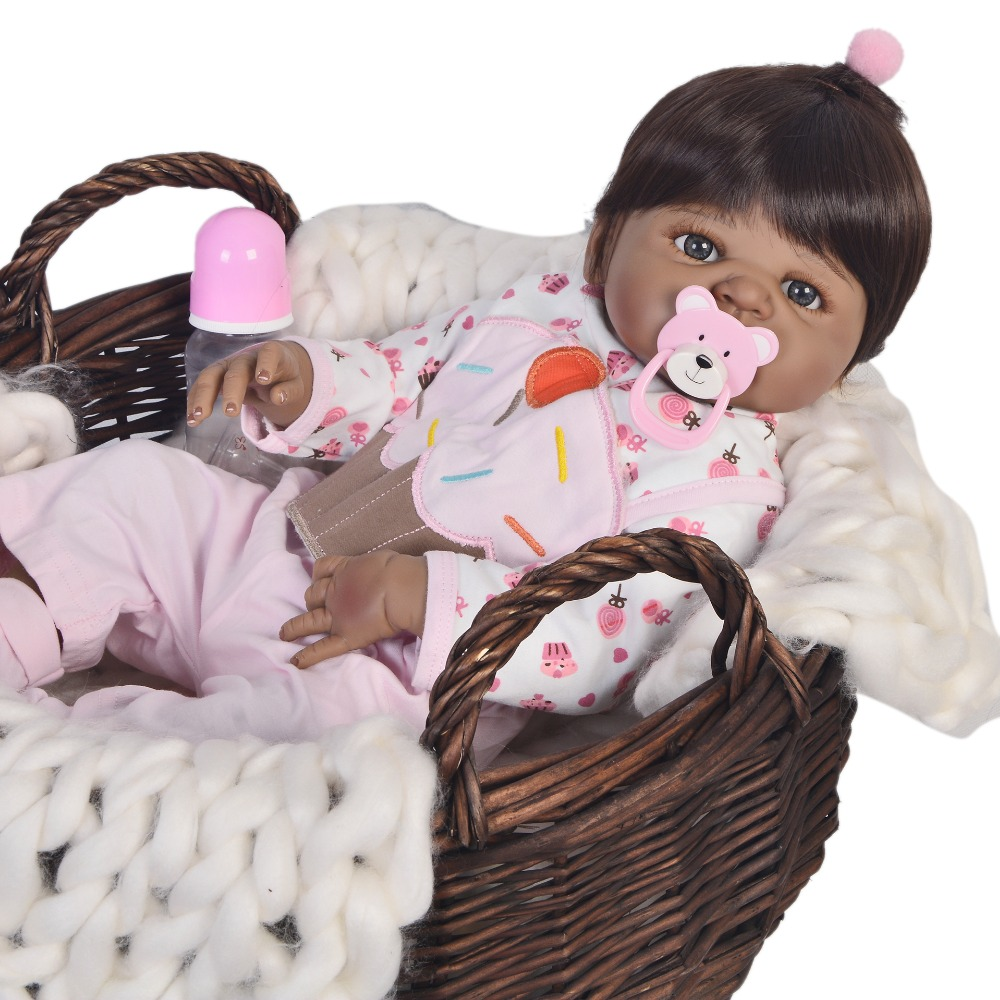 57cm black skin Silicone Reborn Baby Doll Toys Like Alive Bebe big Size Princess Babies vinyl doll Most popular party gift toy