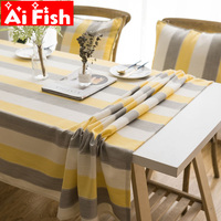 American Simple Tablecloth Dustproof Cotton Linen Fabric Rectangular Stripes Tea Tables Napkin Cloth For Kitchen Decor A31 40