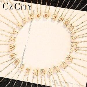 Image 5 - Czcity Echt 14K Gold Petite Cz Beginletter Hanger Kettingen Voor Vrouwen Unieke A Z Brief Ketting Sieraden Geschenken