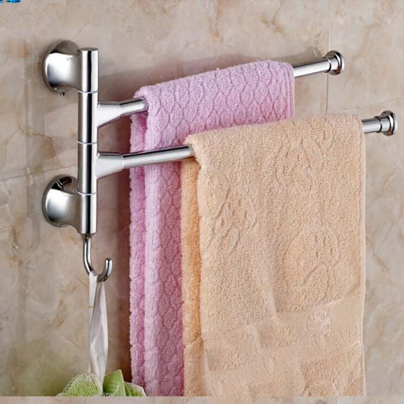 Newly Arrival Polished Chrome Wall Mount Bathroom Towel Rack Holder Dual Swivel Bars W/ Hooks free shipping polished chrome bathroom towel rack holder wall mounted swivel towel bar hanger