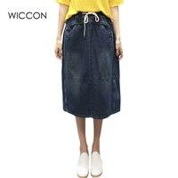 Elastic Waist Summer Jeans Skirt Women Jupe Slit Back Pockets Denim Skirts Female Plus Size Faldas