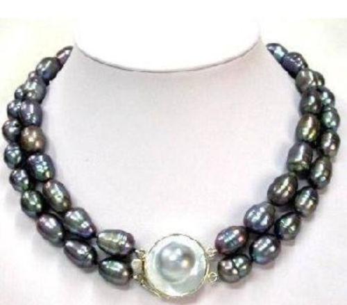 """ENVÍO GRATIS>>>>>>>> Caliente venta nuevo Estilo enorme AA 11-13mm tahitian negro barroco de la perla de la madre collar 17-18"""""""