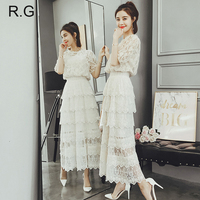 RG Summer Lace Cupcake Skirt Suit Women Office Uniform Crop Top 2 Piece Set Beige White Long Skirt Suits Terno Feminino 2018