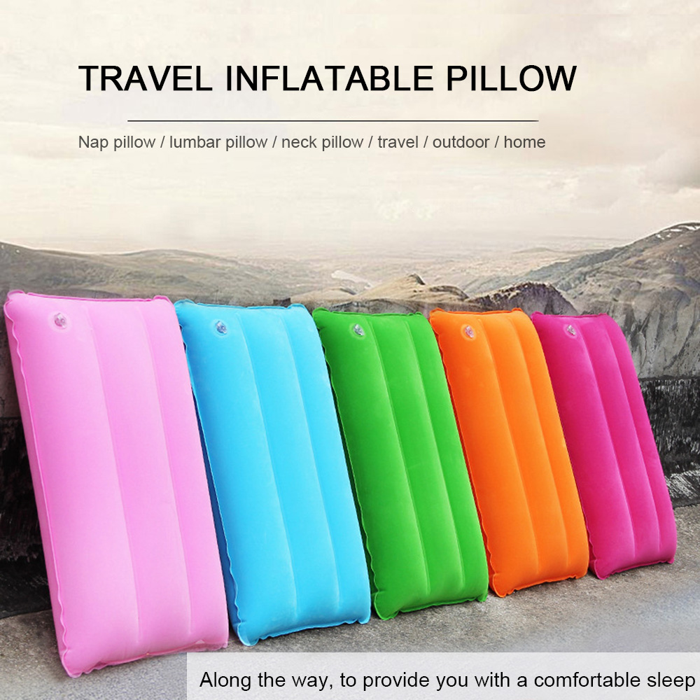 42*25cm Mini Travel Inflatable Pillow PVC Flocking Nap Square Pillow Outdoor Hiking Rest Cushions