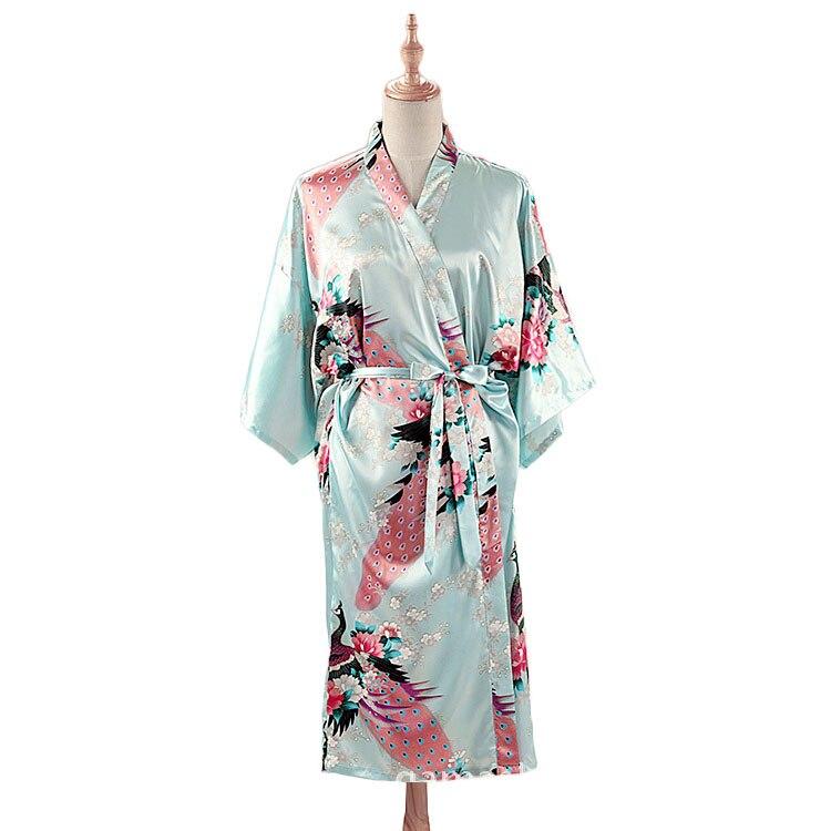 HTB1VbUhXyHrK1Rjy0Flq6AsaFXaX Woman Loose Style Pajamas Home Sleep Wear Lace Up Peacock Print V-neck Night Gown Japanese Kimono Yukata Bathing Robe