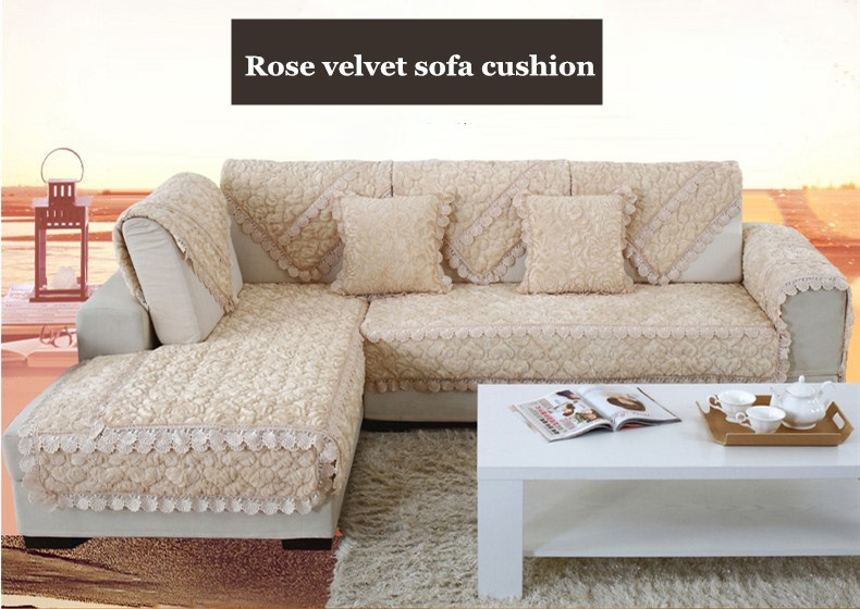 Thick Slip Resistant Couch Cover for Corner Sofa Made with Plush Fabric Including Lace for Living Room Decor 7