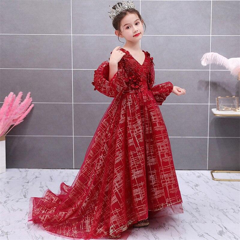 Niños Niñas de alto grado exquisito fiesta de noche modelo Show Walking Long Tail vestido niños lujo V Collar Host cumpleaños vestidos - 2