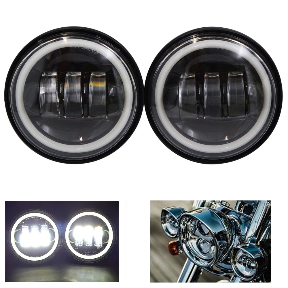 BJMOTO A Pair CE DOT Approved 4.5  Led Motorcycle headlight Spot Fog Passing Light for Harley Honda Kawasaki 4 1 2 led spot fog passing motorcycle light dot ce body material aluminum die cast housing bike headlight body color black