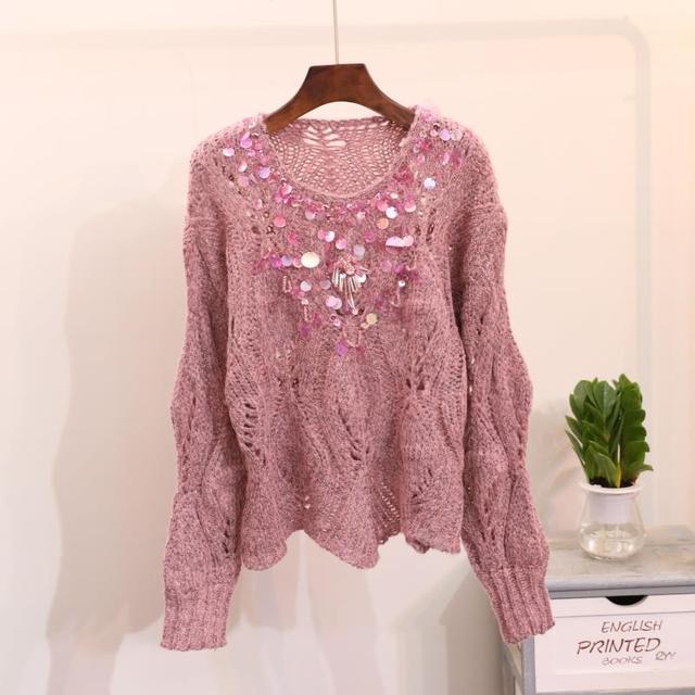 Пайетки бисером свитер перемычки тянуть роковой Для женщин трикотажные Пуловеры для женщин