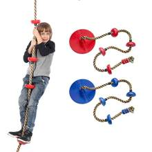 Kids Swing Rope Safe Indoor Outdoor Jungle Gym Kingdom Disc Swing Seat with Platform Plastic Hanging Swing Set Kid Toy(China)