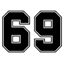 CS-1290#20*14cm number 69 funny car sticker vinyl decal silver/black for auto stickers styling