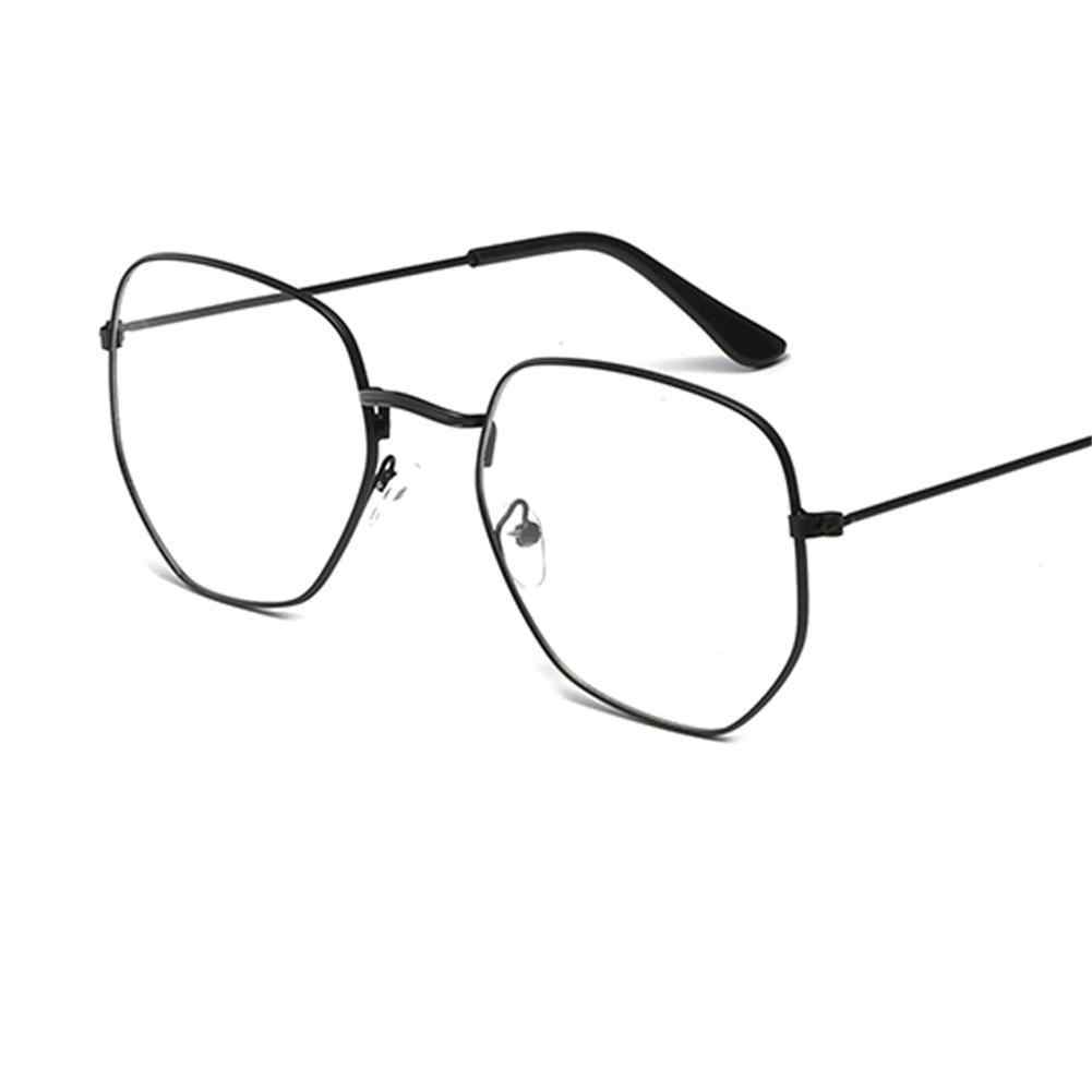 e8aec37d1a College Style Unisex Metal Square Rim Plain Glass Spectacles Large Frame  Asymmetrical Polygon Radiation Protection Glasses