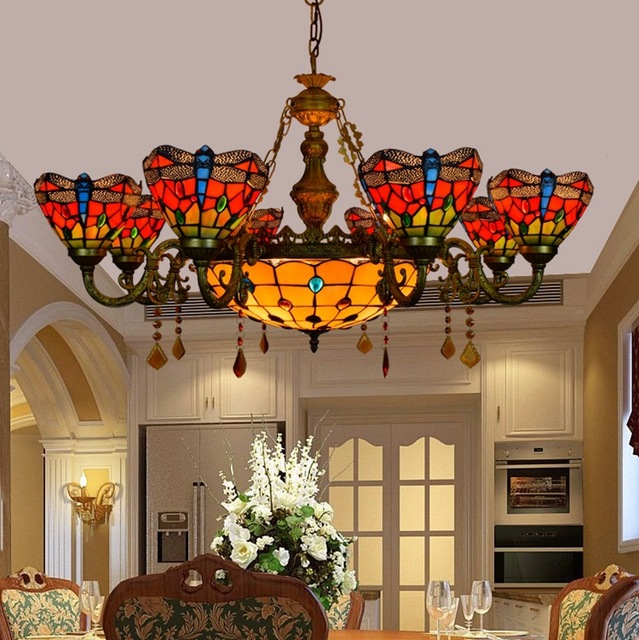 European 6 8 Heads Living Room Dining Crystal Chandelier Tiffany Stained Glass Restaurant Pendant Lamps
