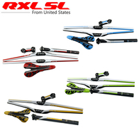 RXL SL Cycling Carbon Handlebar MTB handlebar set +Stem+Seat post+Saddle 2017 Ultra light Flat/Riser Bars 3K Bicycle Handlebar