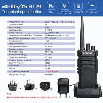 IP67 Waterproof Walkie Talkie RETEVIS RT29 10W UHF (or VHF) VOX Long Range Two-way Radio Station for Factory Farm Warehouse 3KM 5