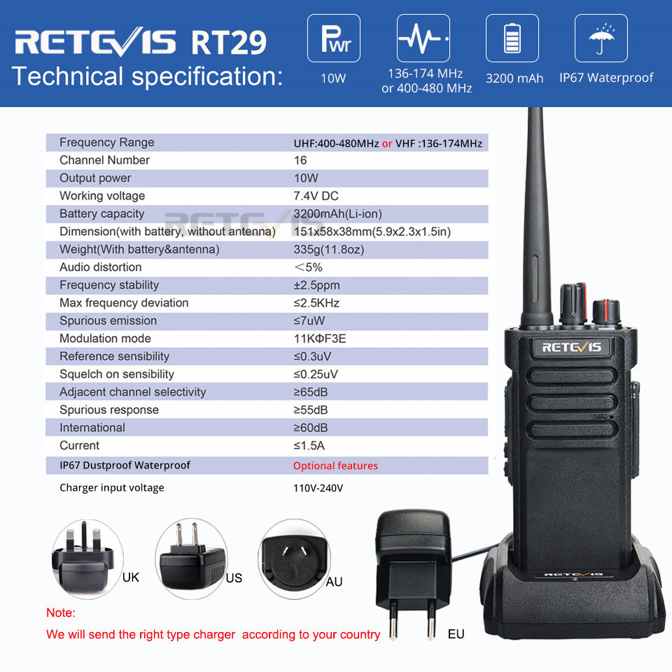 Image 5 - IP67 Waterproof Walkie Talkie RETEVIS RT29 10W UHF (or VHF) VOX Professional Long Range Two way Radio Walkie Talkie Comunicador-in Walkie Talkie from Cellphones & Telecommunications