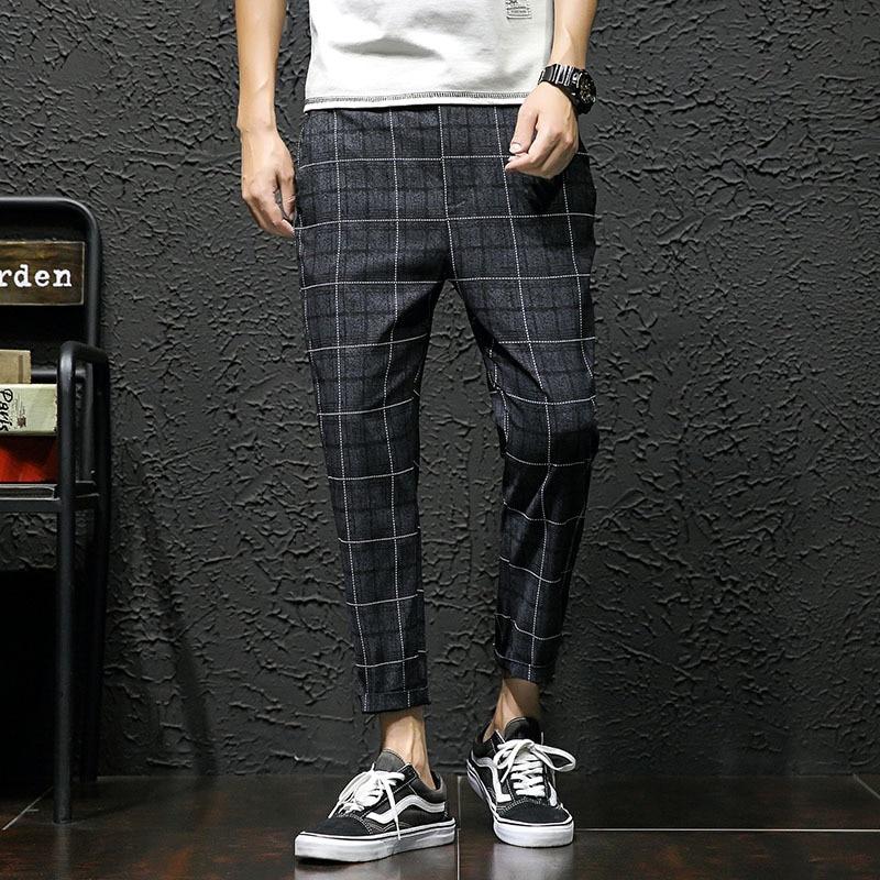 Pants Cotton Leisure Time Nine Part Male Feet Lattice Personality City Boy Trend Exquisite pantalon homme calca masculina Best