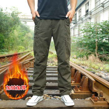 Pants Men Winter Double Layer Men's Cargo Pants Baggy Pants For Men Military Tactical Pants Fleece Trousers