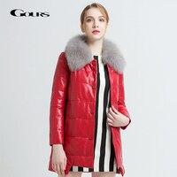 Gours Women's Genuine Leather Duck Down Overcoats Black Sheepskin Jackets with Fox Fur Collar Winter Warm Parka New Arrival 232
