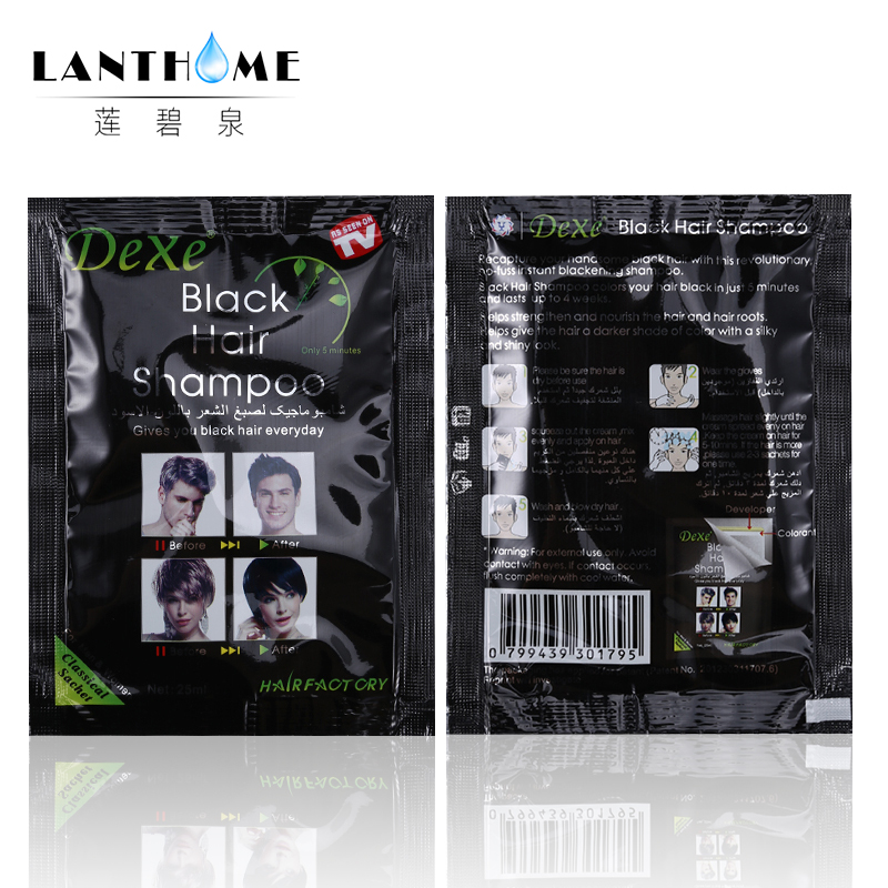 New Lanthome De xe black hair shampoo in black hair color Only 5minutes Fast Hair Dye Permanent Coloring Cream Building Fibers 3
