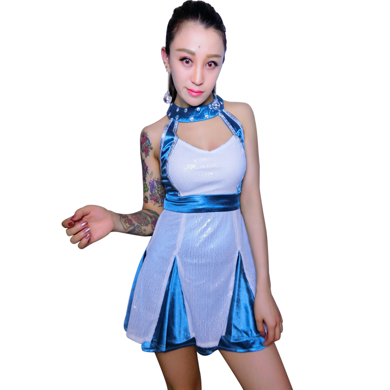 Rhinestone DS Bar Performance New Sexy Nightclub DJ Singers gogo Collar Dance Costume Jazz Dancer Stage Dance Costume For Singer