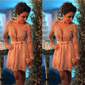 Free Shipping Pink Lace Appliques Short Homecoming Dresses Fashion Short Dress For Prom Long Sleeve Pearls Beaded Cocktail Gowns