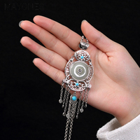 Vitnage Amulet Large Tassel Pendant For Sweater Chain Natural Jades And Turquoises With Hollow Lotus Flower Coin Design