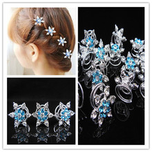 12 шт. голубая Снежинка скручивает спины шпилька для волос зажим
