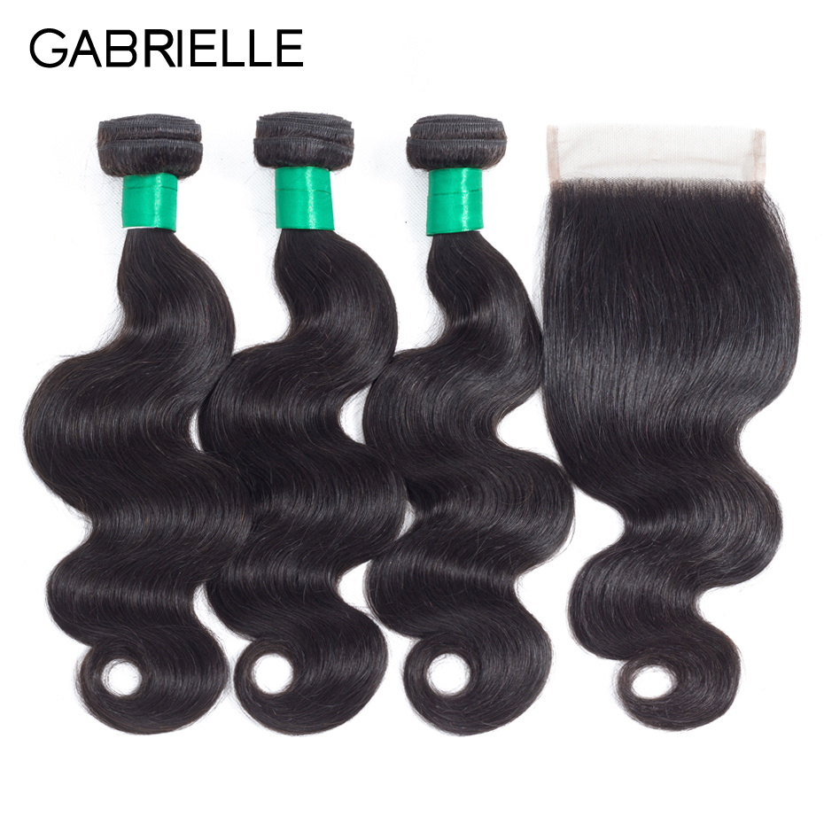 Gabrielle Brazilian Body Wave Closure with 3 Bundles Natural Color Human Hair Weave with 4x4 Lace Closure Free/Middle/Three Part