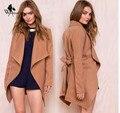 WomensDate 2016 Autumn Women New Fashion Khaki Lapel Long Sleeve Trench Coat Ladies Open Waist Casual Long Outerwear Coats