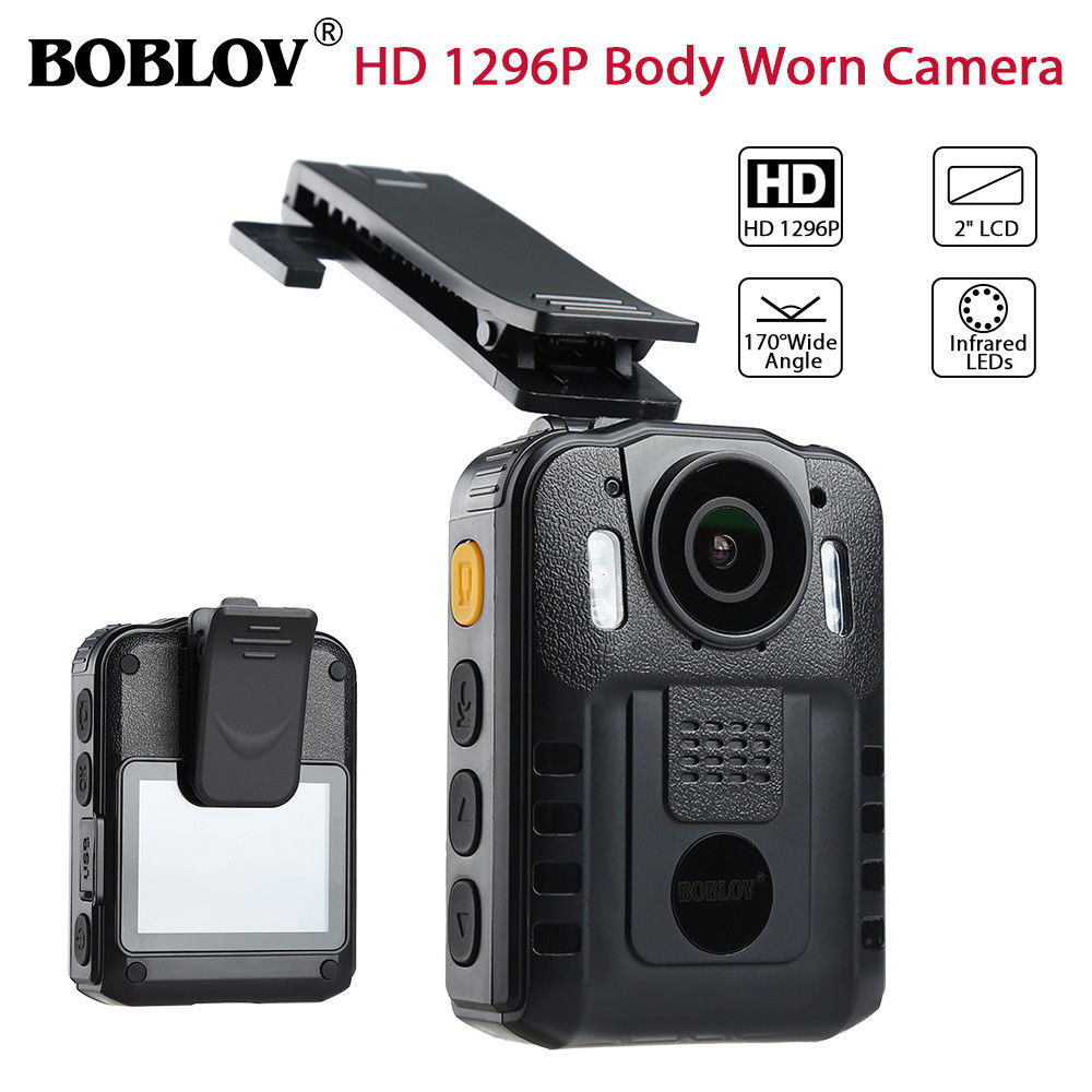 BOBLOV WN9 HD 1296P Novatek 96650 IR Night Vision Body Worn Camera 170 Degree Security Pocket Police Camera Video Recorder blueskysea 2k hd s60 body personal security