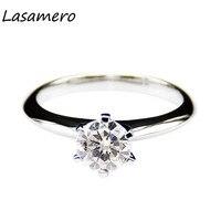 LASAMERO REAL Moissanites 1 карат 925 посеребренное позолоченное лабораторное кольцо с алмазом Moissanites обручальное кольцо для женщин ювелирные украшения