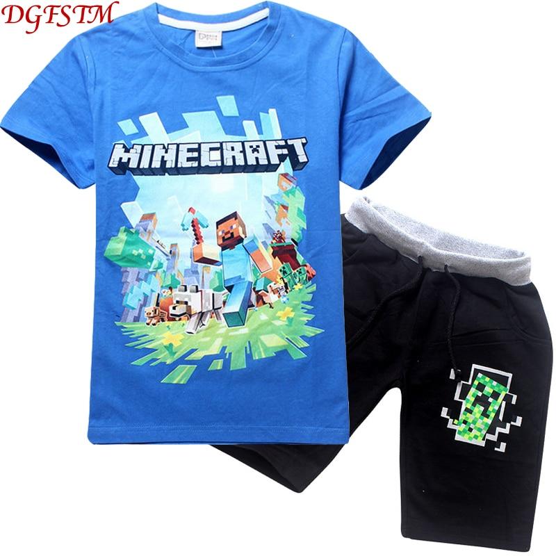 فدية Minecraft الأطفال ملابس الصيف الطفل الكرتون الملابس الدعاوى أعلى بانت 2 قطعة المجموعة الاطفال عارضة الفتيان الملابس بدلات رياضية حديث