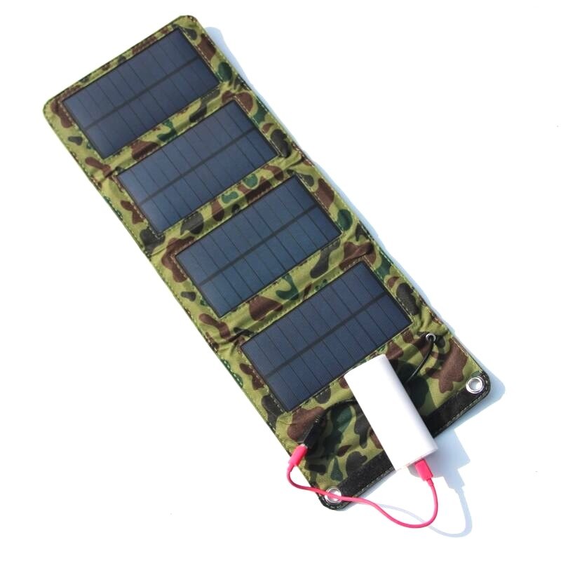 Portable 7W Solar Charger for Mobile Phones Power Bank Battery Charger USB Output Solar Panel Charger