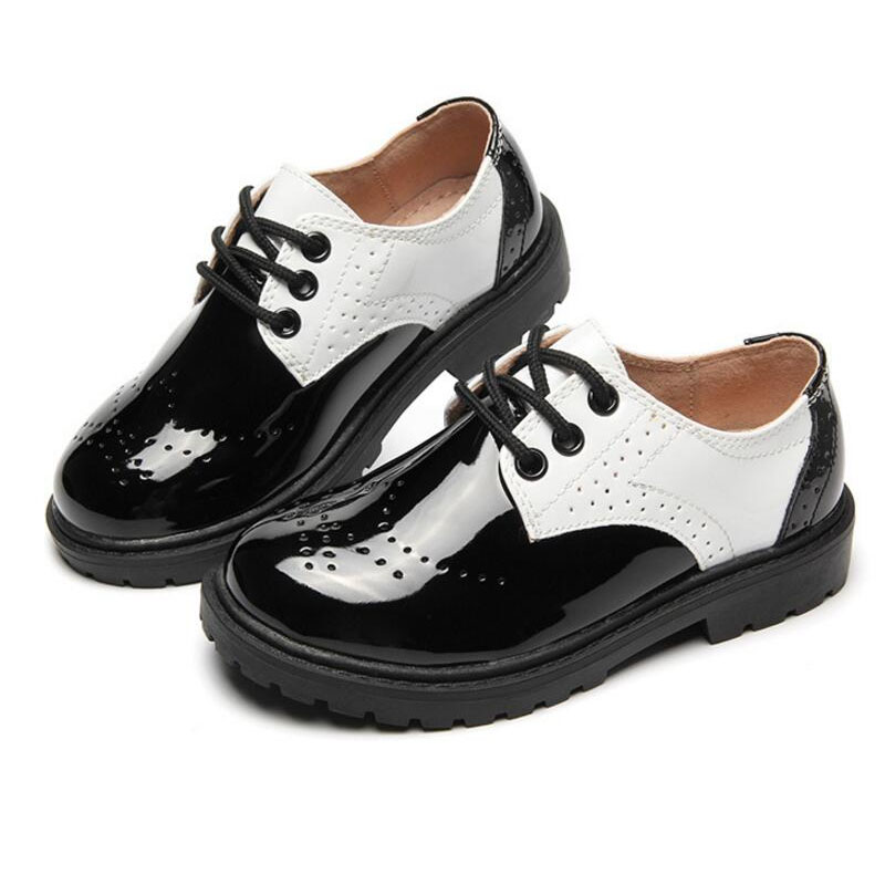 2018 New Kids Shoes Boys Genuine Leather School Shoes High Quality Wedding Party Boys Dress Shoes Fashion Flat Boys Sneakers