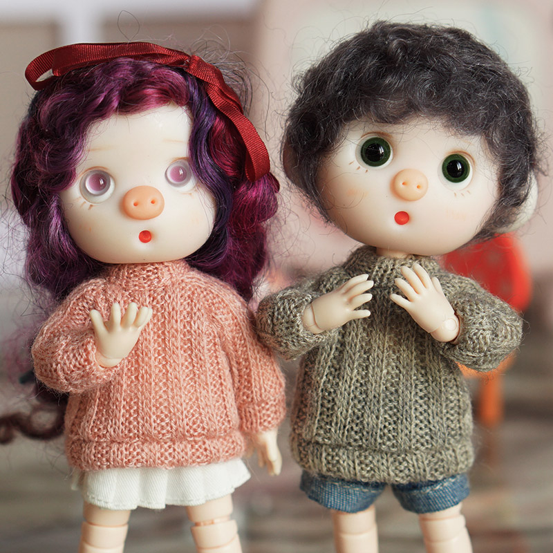 Hot Sale 1/12 Bjd Doll Colorful Long Sweater Clothes Fit  For Ob11 Doll Dress  Accessories Doll Suit Clothes