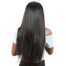 Full End Italian Yaki Straight Lace Front Human Hair Wigs For Women Pre Plucked Natural Black