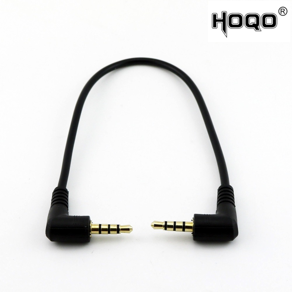 1x Gold Plated Plug Stereo 3.5mm 4 Pole Male To Male Right Angle Plug M/M Audio Short Connector Cable Cord 20cm