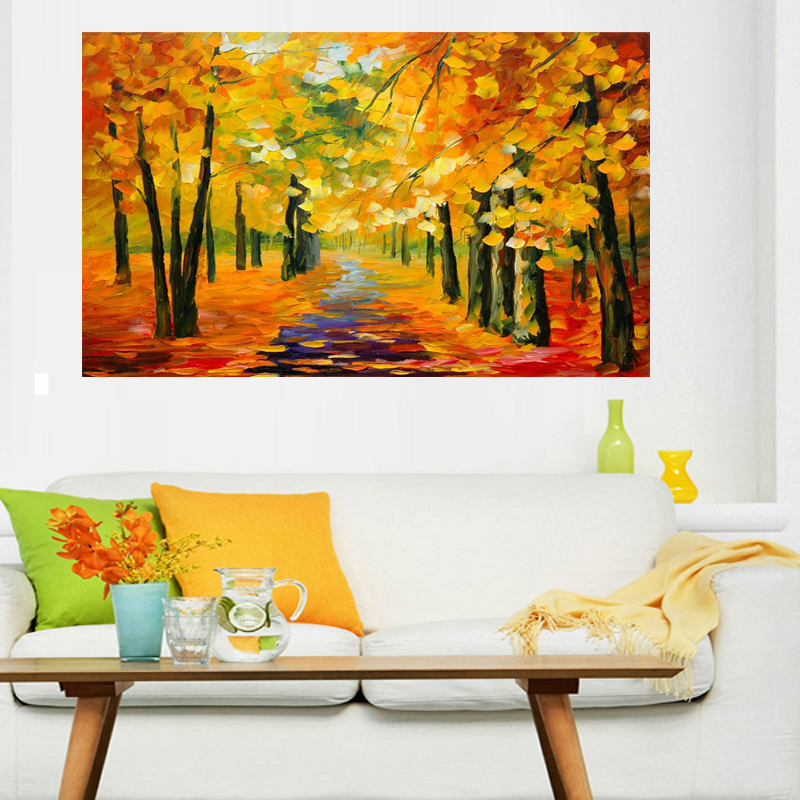 Handmade Golden Tree Forest Painting Knife Oil Painting On