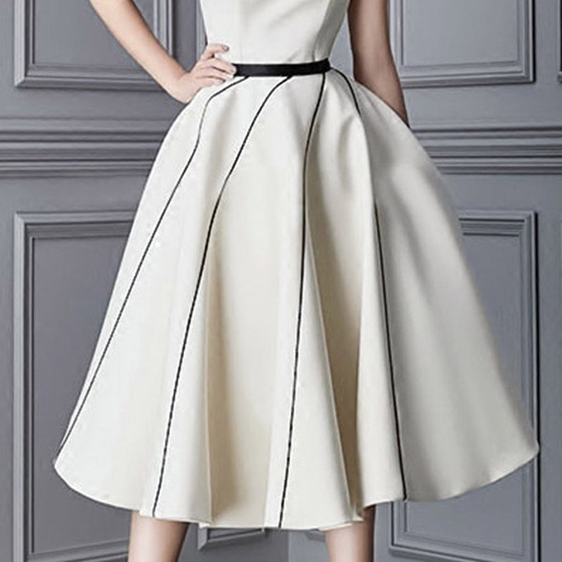 Bqueen-Women-s-Casual-Cocktail-Dresses-2018-Slash-Neck-Solid-Sleeveless-Backless-Knee-Length-A-Line