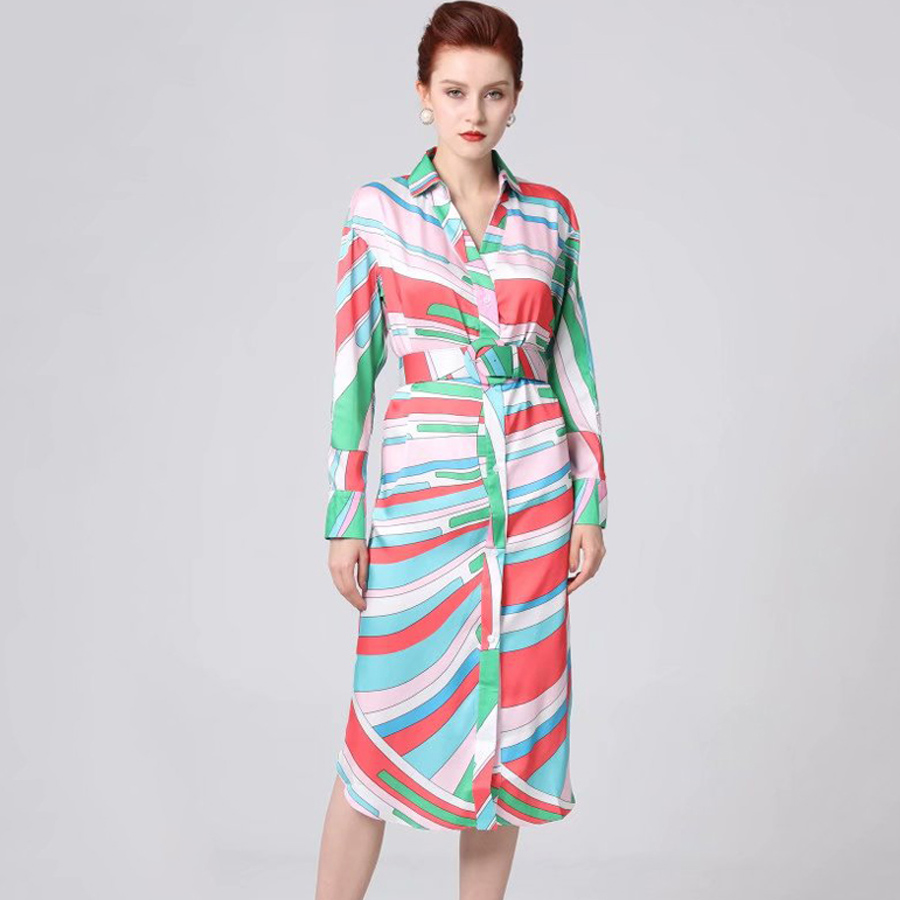 VERDEJULIAY Runway Slim Dress 2019 Summer New Fashion Design Light Colorful Stripes Printed Long Sleeve Dress