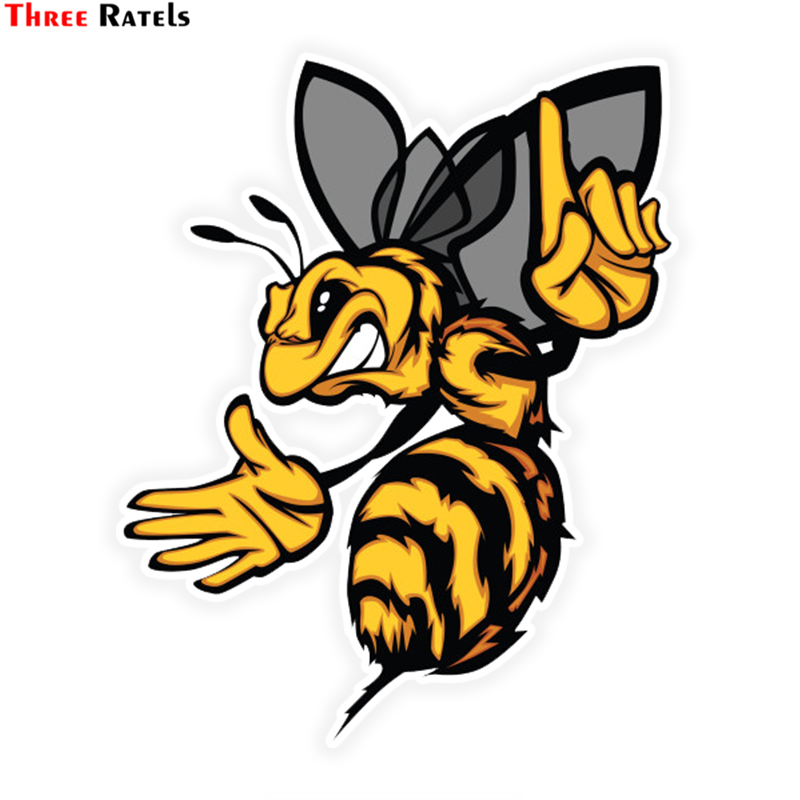Three Ratels LCS394# 11x13.5cm Angry Bee Colorful Car Sticker Funny Car Stickers Styling Removable Decal