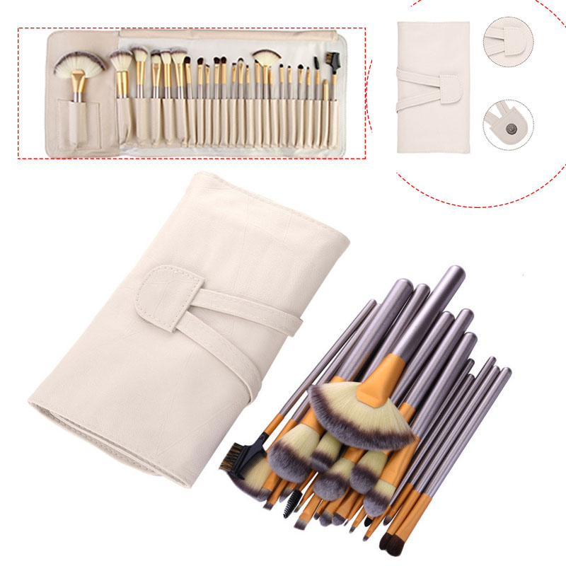 Kainuoa 24 Pcs Eye Face Makeup Brushes Set Eye Shadow Powder Foundation Blusher Cosmetic Tool Brush Kits with Case Bag (folded)