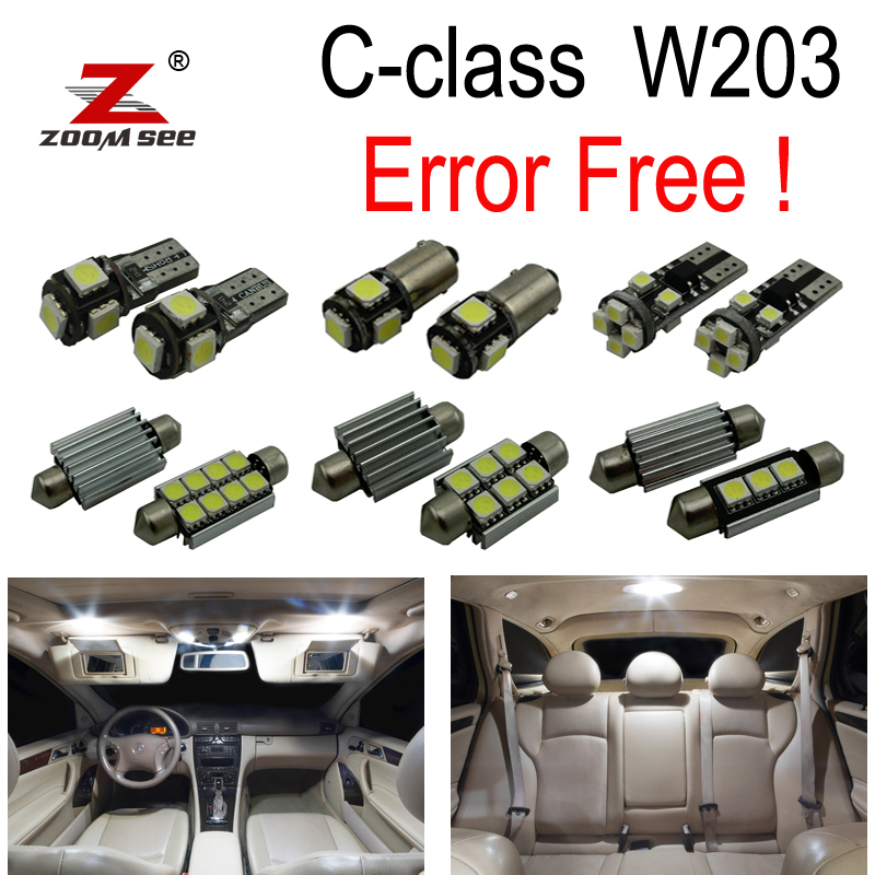 14pcs Error free LED Interior Light Kit For Mercedes  Benz C class W203 C230 C240 C280 C320 C32 AMG C55 AMG (00-07)