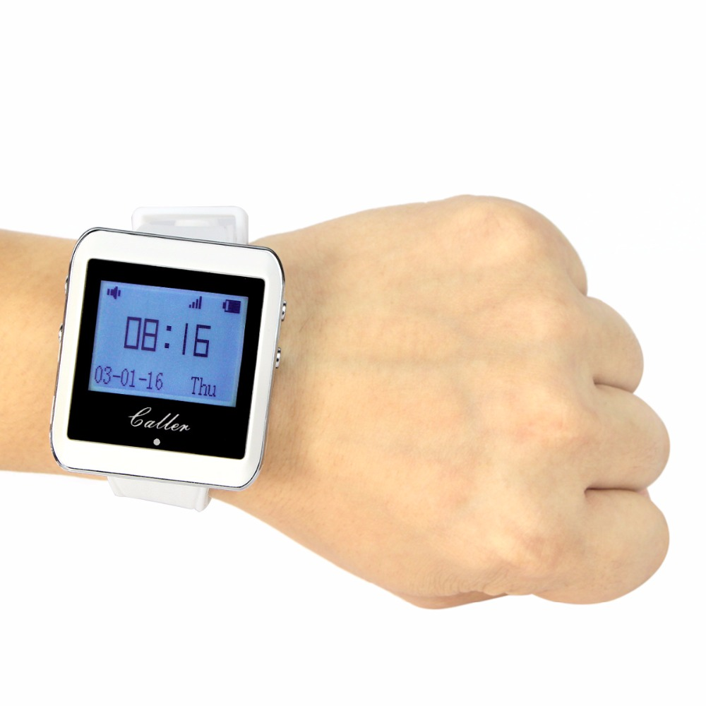 999 Channel RF Wireless White Wrist Watch Receiver for Fast Food Shop Restaurant Calling Paging System 433MHz  F3288B wireless service call bell system popular in restaurant ce passed 433 92mhz full equipment watch pager 1 watch 7 call button