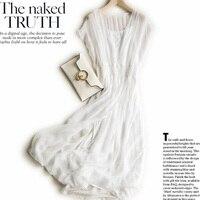 Новое 100% Настоящее 2018 шелковое платье женское натуральный шелк Высокое качество элегантное сказочное пляжное длинное платье белое Бесплат