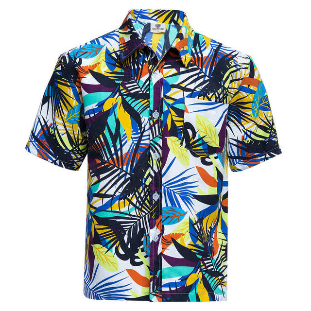 b04f914d86d Summer Men's Tropical Hawaiian Shirts Flowers Printed Short Sleeve Tops  Breathable Loose Beach Clothing Large Size Floral Shirts