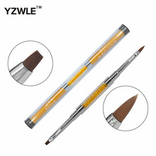 YZWLE 1 Pc High Quality Gold Metal Handles Dual-use #2 Nail Art Brush / Manicure Gel Polish Pens / #2 Crystal Nail Brush 07